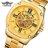 T-winner мужской автоматический Аналоговый механический Блестящий Скелет циферблат часы с браслетом из нержавеющей стали WRG8184M4