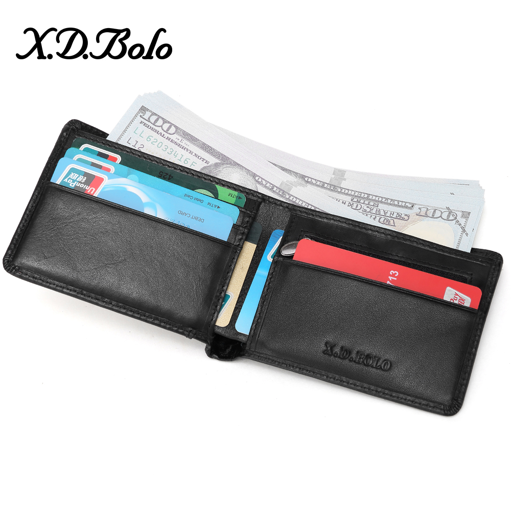 XDBOLO Genuine Leather Men Wallets Coin Pocket Zipper Real Men's Leather Wallet With Coin High Quality Male Purse Cartera