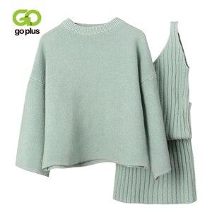 Image 1 - GOPLUS Winter Womens Tracksuit Knitted Suit Two Piece Set Women Casual Round Neck Sweater V neck Mini Dress Conjunto Feminino