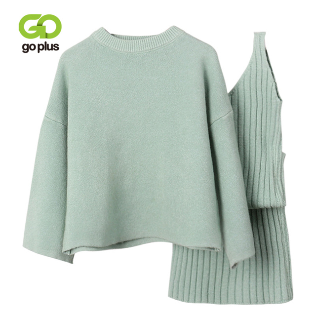GOPLUS Winter Womens Tracksuit Knitted Suit Two Piece Set Women Casual Round Neck Sweater V neck Mini Dress Conjunto Feminino