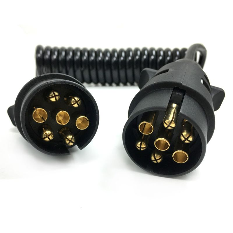 7 Pin Plastic Trailer Plug X2 W/curly Extension Cable 1.5M Male To Male 12V Trailer Lighting Board Caravan