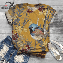New Arriaval Women Bird Tee Cartoon Printed T-shirt Short Sl