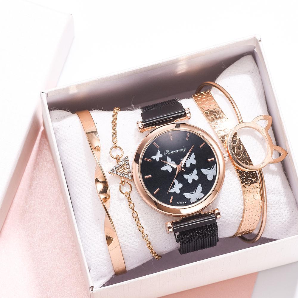 5pcs Set Women Watch Magnet Buckle Womens Butterfly Watches Luxury Ladies Quartz Wristwatches Bracelet Set Clock Reloj Mujer
