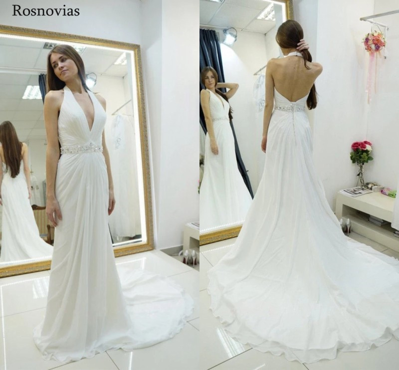 Long A Line Chiffon Wedding Dresses With Peplum 2019 V Neck Backless Sweep Train Modest Bridal Gowns Vestido De Novia Customized