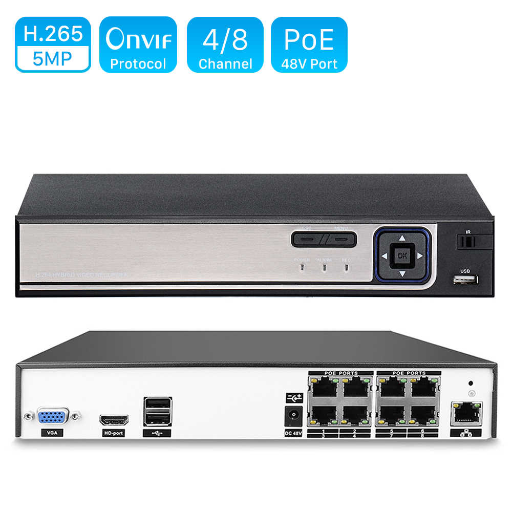 H.264 4CH o 8CH CCTV NVR 48V PoE 4*5 MP/8*4 MP videograbadora de Seguridad de vigilancia ONVIF IP cámara de detección de movimiento PoE NVR P2P