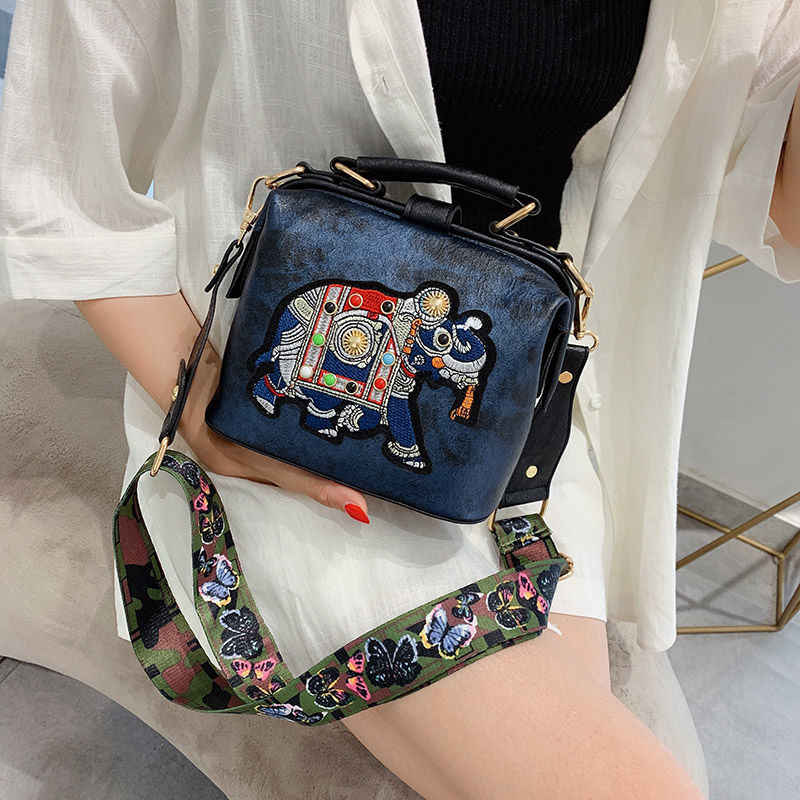 Vintage Embroidery Elephant Bag Bags Wide Butterfly Strap PU Leather Chain Women Shoulder Crossbody Bag Tote Women's Handbags