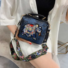 Vintage Embroidery Elephant Bag Bags Wide Butterfly Strap PU Leather Women Shoulder Crossbody Bag Tote Women's Handbags Purses