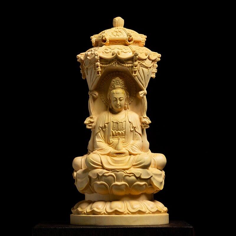 Boxwood Carvings Buddha Statue Solid Wood Three Face Sakyamuni Sculpture Living Room Decoration Home Decor