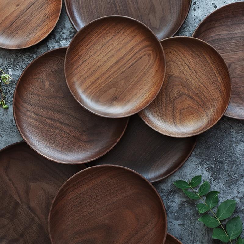 Dia 15cm 20cm Wood Dish Plates Premium Black Walnut Wooden Tableware Dishes Round Cake Dessert Serving Plate