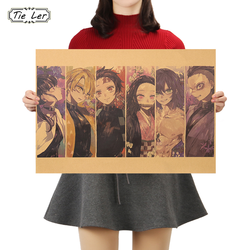 TIE LER Classic Cartoon Anime Poster Vintage Kraft Paper Poster Wall Stickers Living Room Home Decoration 50.5X35cm