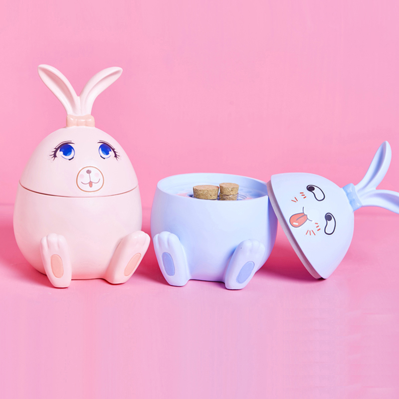Baby Tooth Box Cute Rabbit Baby Keepsake Baby Navel Belt Hair Souvenir Bottle Kids Teeth Box Birthday Gifts Pink/blue Room Decor