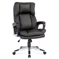 High Back Executive Desk Chair Black Luxury PU Leather PC Computer Office Chair Steel Frame Office Use Large Furniture
