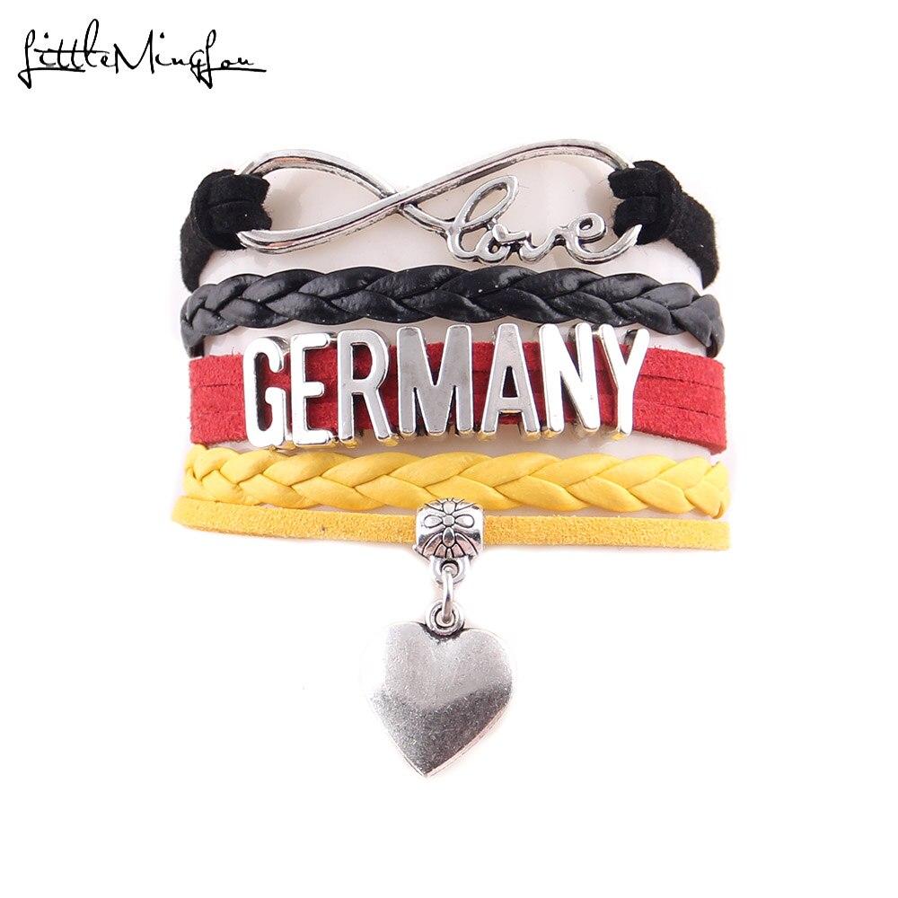 German Flag on Heart Snake Chain Charm Bracelet