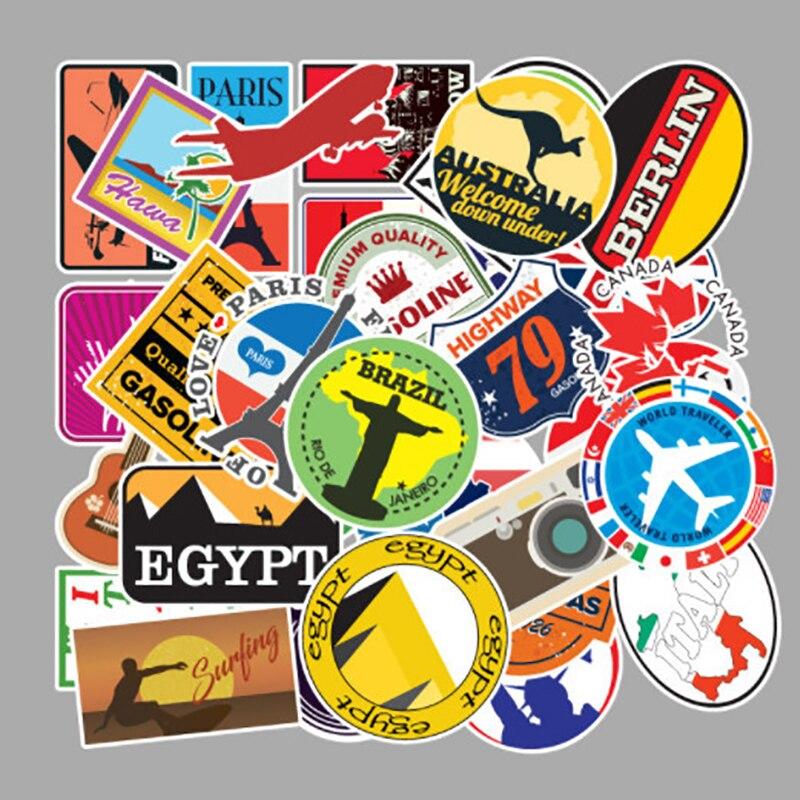 100 pçs/set mapa de viagem ao ar livre país famoso logotipo pvc adesivos à prova dwaterproof água decoração para mala bicicleta carro guitarra skate