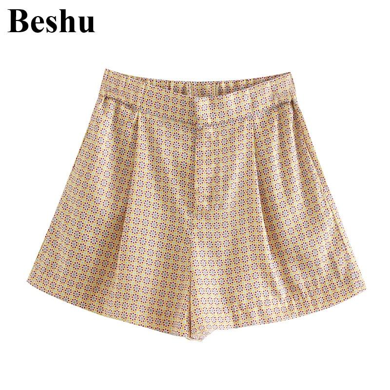 Za 2020 Fashion Shorts Women Geometry Pattern Zipper Placket Concealed Buttons Shorts Female A-line Multi-pockets Folds Mujer