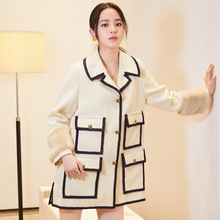 2019 Autumn Medium and Long Coat Which Is Loose Hits The Color of Turn-down Collar Single Breasted Coats Jackets Women