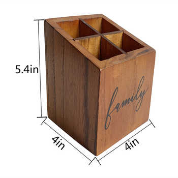 Natural solid wood, desk pen holder, office, home, personal studio, rustic retro brown four-grid pen holder