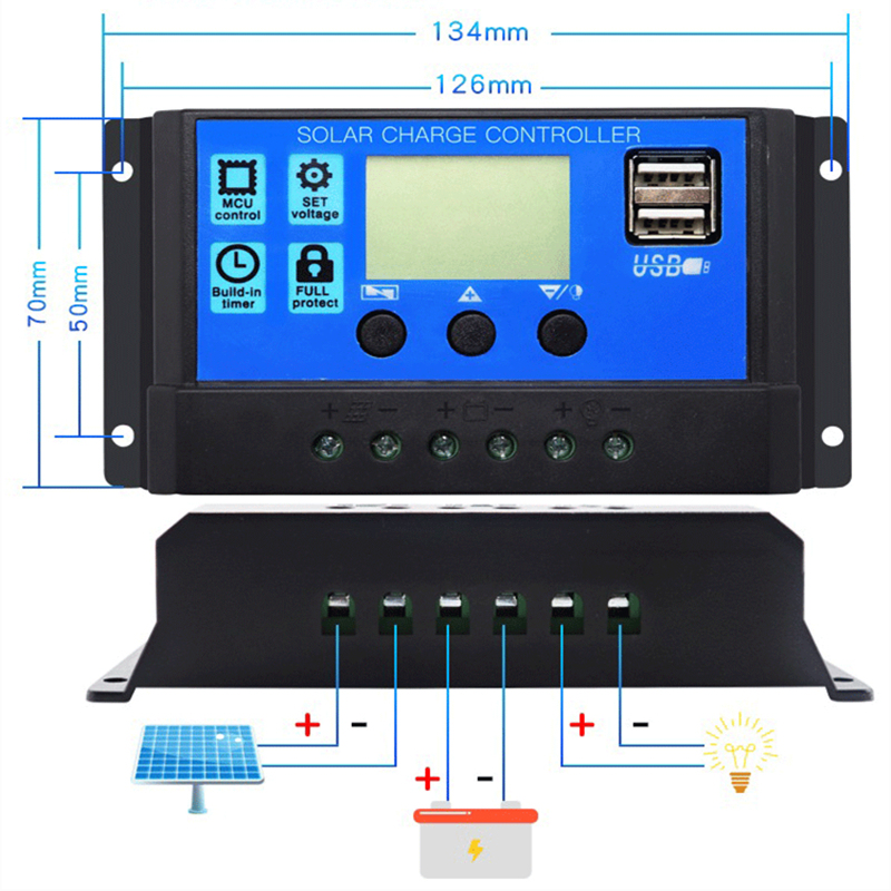 50A 40A 30A 20A 10A Automatic Solar Charge Controller 12V 24V Solar Panel Controller Universal USB 5V Charging LCD Display