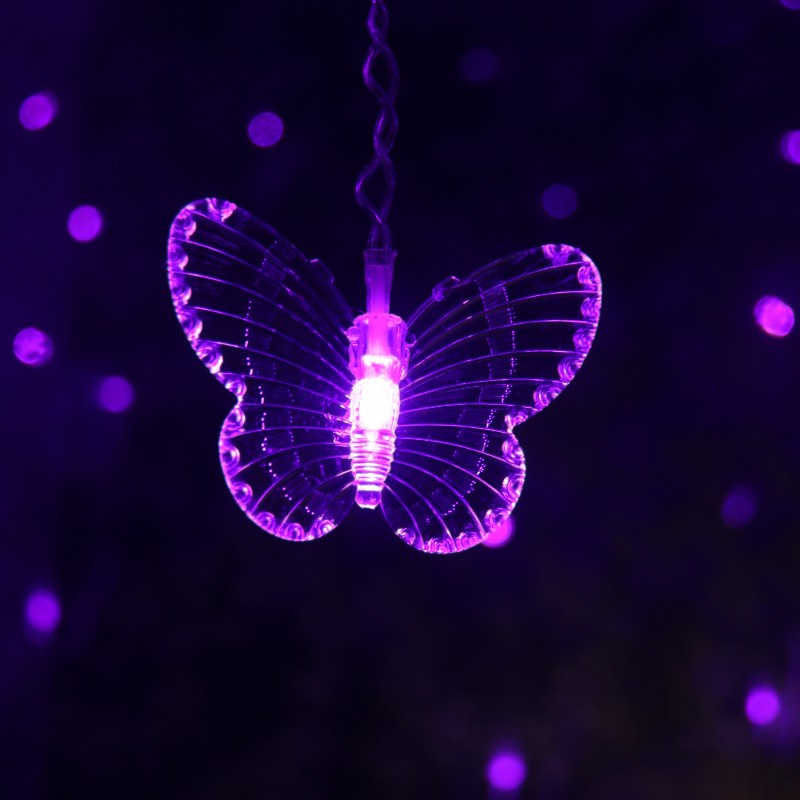 LED Butterfly Curtain Light Ices Strip Butterfly Pendant Light String Indoor Outdoor Party Decoration Christmas Wreath J8 #3