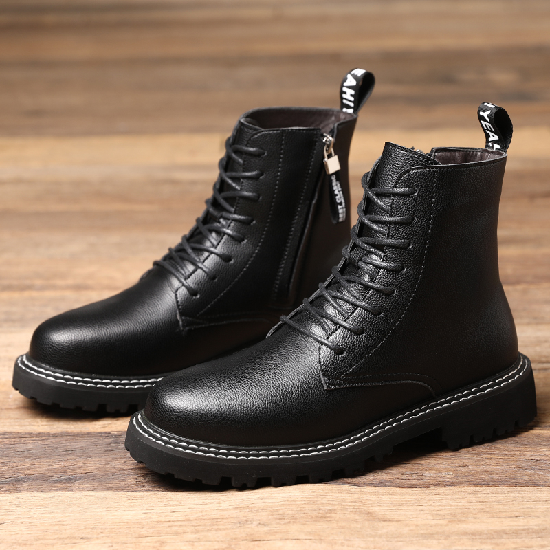 Vintage Boots Men High Quality Ankle Boots Motorcycle Outdoor Shoes Thick Heel Winter Shoes Side Zipper Warm Snow Boots for Men