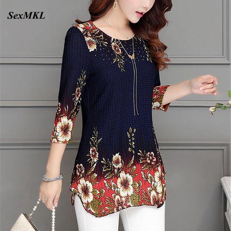 SEXMKL 2019 Fashion Spring Summer Three Quarter Slim Floral Long   Shirt   Female Casual Slim Color Plus Size Elegant Printed   Blouse
