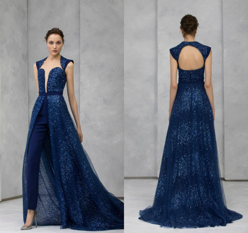 2020 Navy Evening Jumpsuit With Detachable Skirt Lace Sequined Beaded High Collar Prom Dress Formal Party Gowns Pants Suit