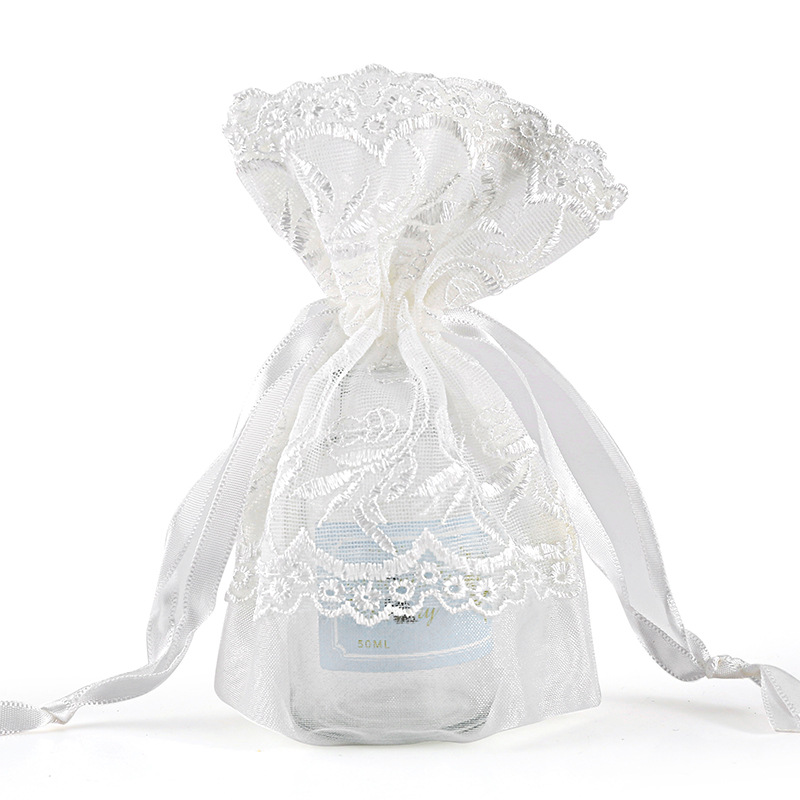 Ribbon Drawstring White Lace Wedding Gifts Bag Valentie's Day Gift Packing Pouch Can Be Customized