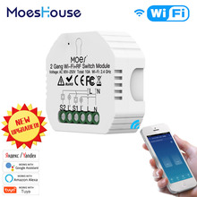 Moes 2 Gang DIY Smart WiFi RF433 Switch Module Smart Life/Tuya APP RF Remote Control,Works with Alexa Google Home 1/2 Way