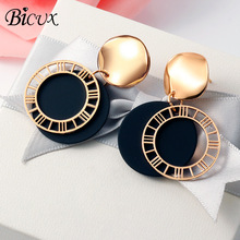 BICUX новые модные Висячие корейские Висячие серьги-капли для женщин массивные Винтажные серьги с подвеской из черного золота Brinco ювелирные изделия