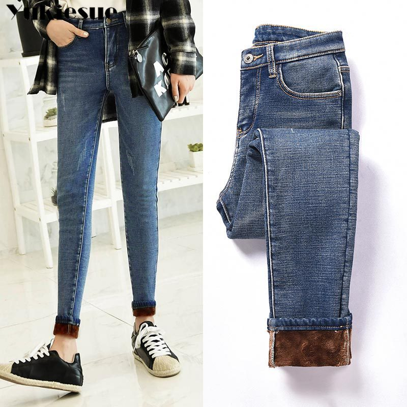 High Waist Woman's Jeans Woman Jean Femme Mujer 2019 Winter Warm Thick Omen's Denim Pencil Pants Mom Jeans For Women Plus Size
