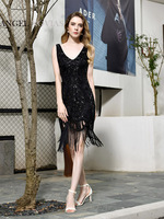 Angel Novias Sexy Black Sequin Lace Backless Cocktail Dress 2020 with Tassels Ready MADE IN STOCK Sukienka Koktajlowa