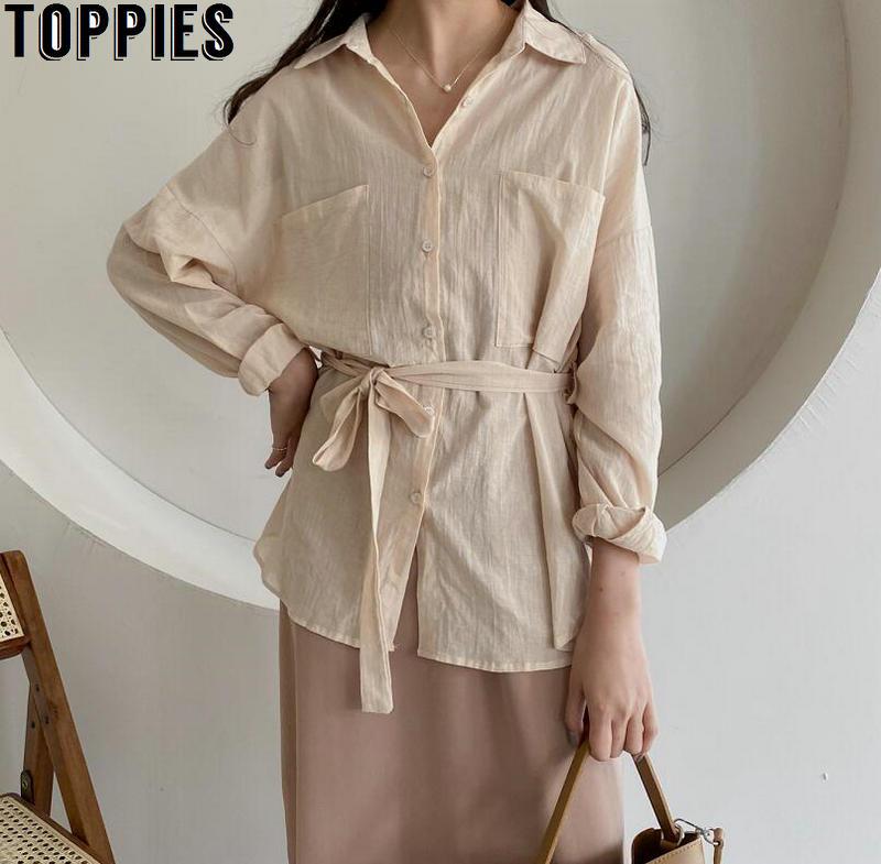 Toppies Women Cotton Linen Blouses Women Boyfiend Shirts Solid Color Korean White Shirts Lace-up Sashes Tops Korean Clothings
