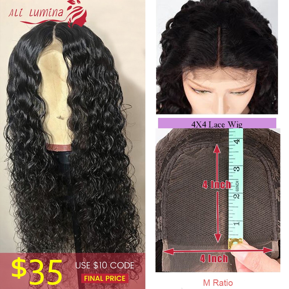 Water Wave Human Hair Lace Wig Peruvian Remy Hair 4X4 Lace Closure Wig With Pre Plucked Hairline 10-30 Inches