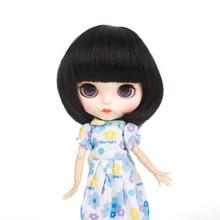 Blyth doll wigs high temperature fiber Air bangs Short Black hair suitable for accessories 25cm 9-10inch
