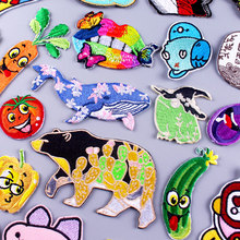 Embroidery/Animal Patch Whale/Frog Patch Cartoon Embroidered/Clothing Patches Iron On Patches On Clothes Stripe Applique Sticker