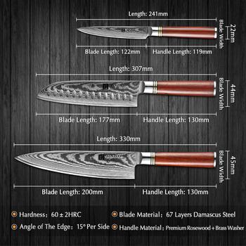 XINZUO 3 sztuk profesjonalny zestaw noży kuchennych japoński VG10 damaszek stalowe sztućce kuchenne ostre Santoku Utility Chef #8217 s noże tanie i dobre opinie Damaszek Steel Carbon Steel Trzy częściowy zestaw He-PW-3PC Ce ue Lfgb Zestawy noży Zaopatrzony Ekologiczne