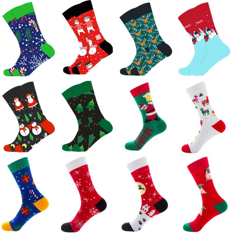 1 Pair Of Autumn And Winter Warm Men's Christmas Socks Funny Santa Claus Elk Snowman Candy Cat Dog Pattern Christmas Man Socks