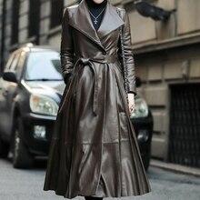 Otoño Invierno mujer marca espesar abrigo largo calidad piel de oveja abajo abrigo cálido cuero genuino largo abajo abrigo mujer prendas de vestir exteriores