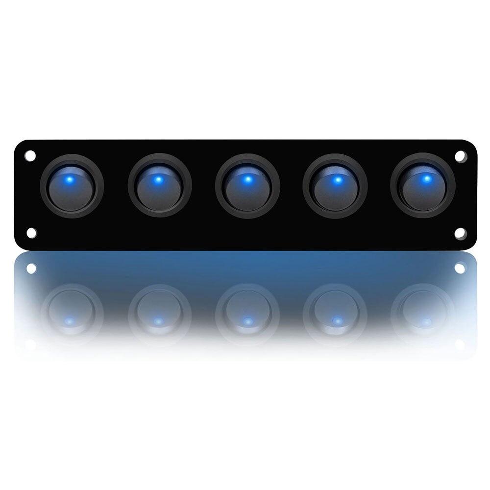 Светодиодный переключатель, водонепроницаемый, кулисный переключатель, внутренняя панель, морской синий, напряжение 12-24 В, прочный