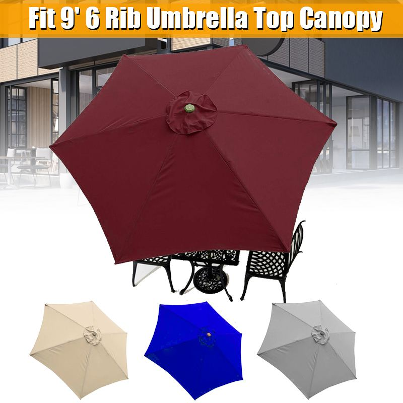 Patio Umbrella Top Canopy Replacement Cover fit 9ft 6 ribs Patio Umbrella Garden Outdoor Beach Waterproof Sun Shelter Cover