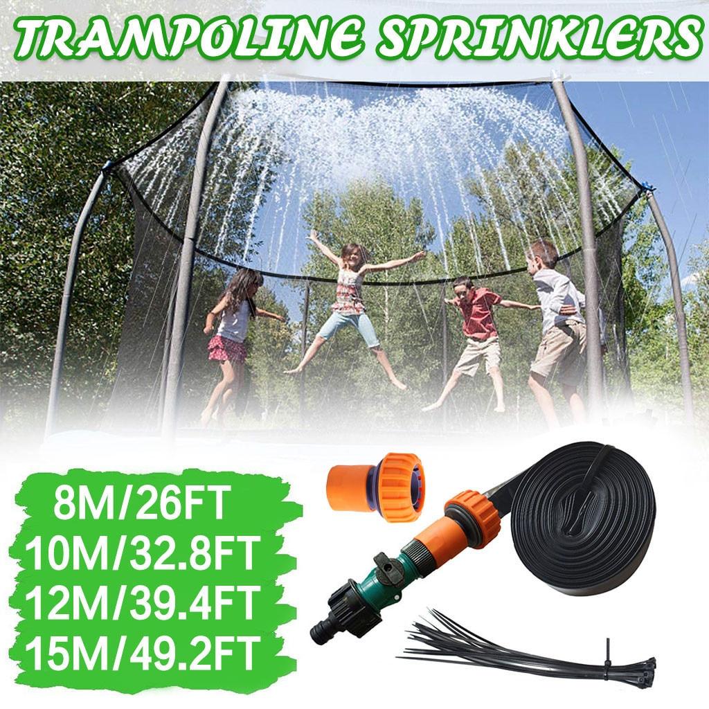 8 10 12 15M Trampoline Sprinkler Outdoor Kids Water Sprinkler Summer Water Fun for Kids Yard Backyard Water Park Accessories