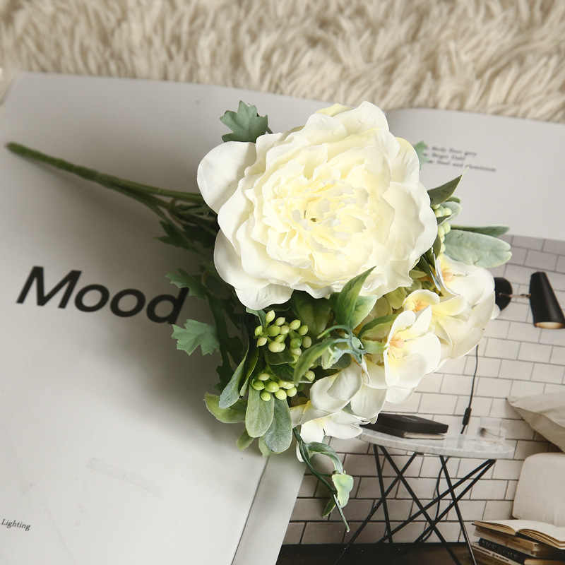 ประดิษฐ์ราคาถูกดอกไม้ Camellia Peony Rose ดอกไม้ผ้าไหมปลอมดอกไม้งานแต่งงานดอกไม้ DIY Home PARTY ตกแต่ง