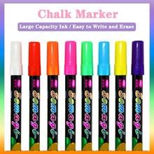 8 pçs conjunto de canetas marcador de giz líquido cor apagável highlighter led placa de escrita blackboard vidro janela caneta pintura arte marcadores