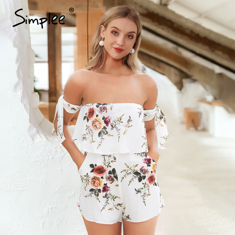 Simplee Sexy Off Shoulder Print Jumpsuit Romper Elegant Strap Bow Backless Playsuit Summer Beach Flower Pocket Short Overalls