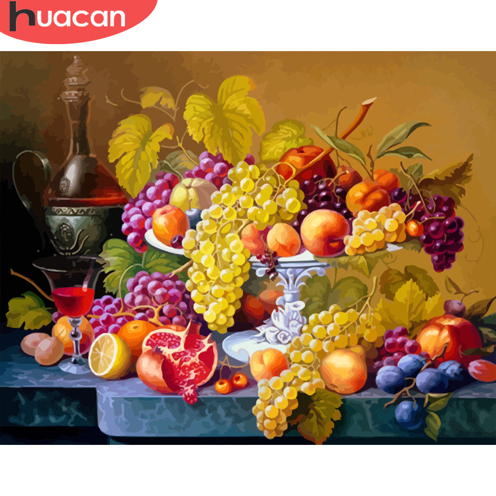 HUACAN Oil Painting By Numbers Fruit DIY Pictures On Canvas Painting For Living Room Wall Art Home Decoration SZGD521