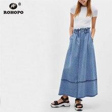 ROHOPO Overlocked High Waist Discover Thread Patchwork Sky Blue Ankle Length Jeans Skirt Vintage Maxi Denim Falda #2408 цены онлайн