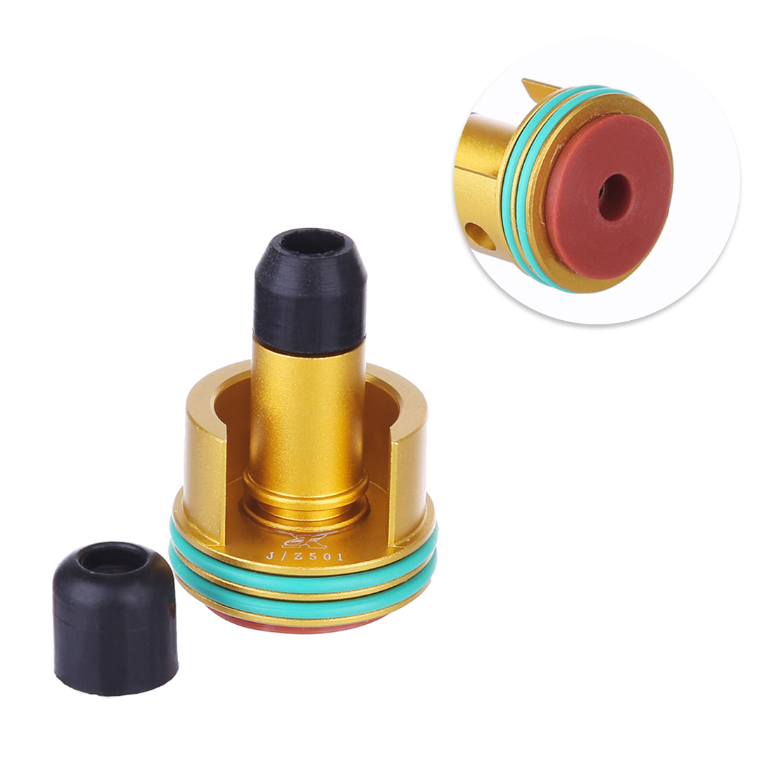 Metal Noise Reduction Air Cylinder Head and Inner O Ring Air Seal Nozzle for Jingji SLR/RX <font><b>AK47</b></font> Water Gel Beads Blaster image