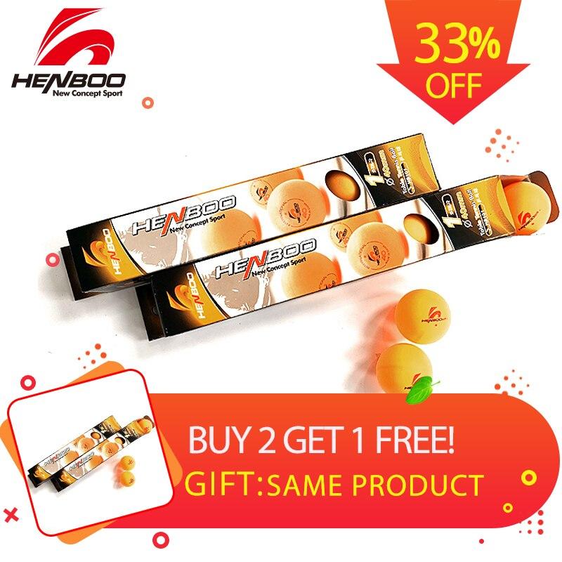 HENBOO 1-Star 6 Pcs/lot Table Tennis Balls Ping Pong Balls ( New Material 1-Star Seamed ABS Balls) Plastic Poly Ping Pong Balls