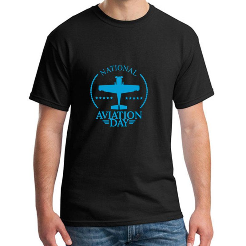 Custom National Aviation Day Usa tee shirt for men 100% cotton Humor Leisure men and women tshirts O-Neck Outfit