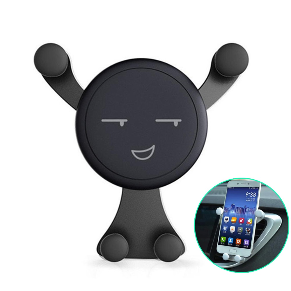 Car Phone Gravity Holder Stand Support Accessories For Iphone XR Air Vent Mount Smile Face GPS Cell Mobile Phone Holder